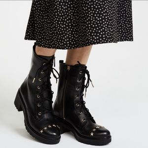Michael Kors Cody Star Studded Leather Boots Moto